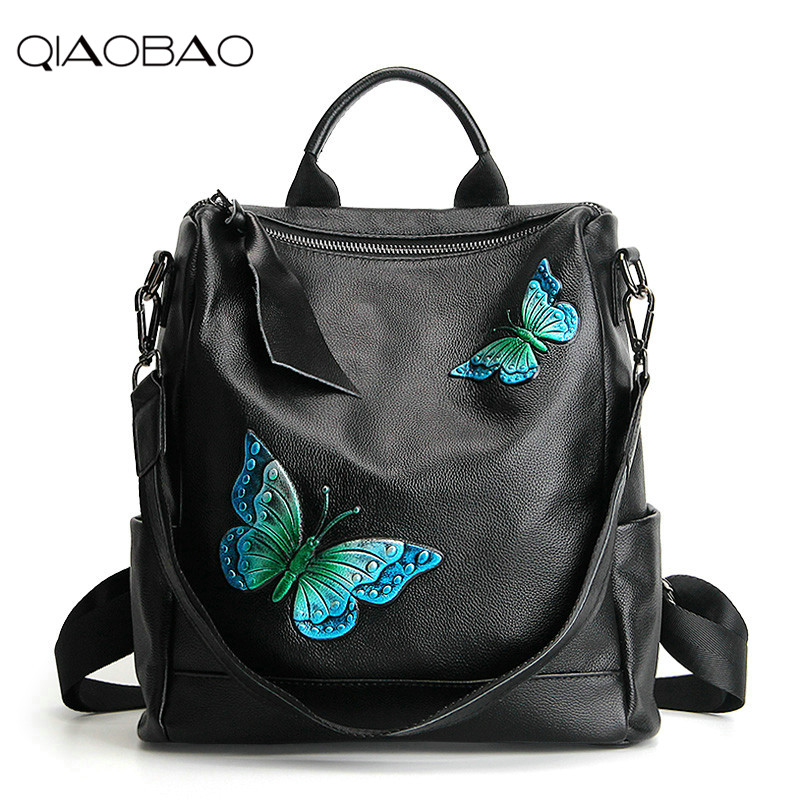 QIAOBAO 2018 New leather bags butterfly large capacity travel backpack head layer cowhide backpack shoulder bagQIAOBAO 2018 New leather bags butterfly large capacity travel backpack head layer cowhide backpack shoulder bag