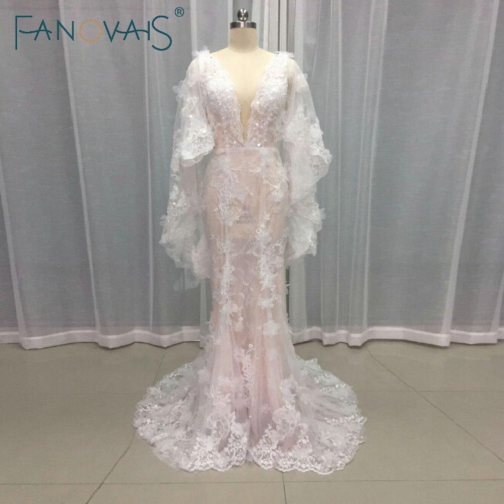 2019 New Designer Wedding Dresses Deep V Neck Lace Wedding Gowns With Cape Flower Appliques Court Train Bridal Dresses