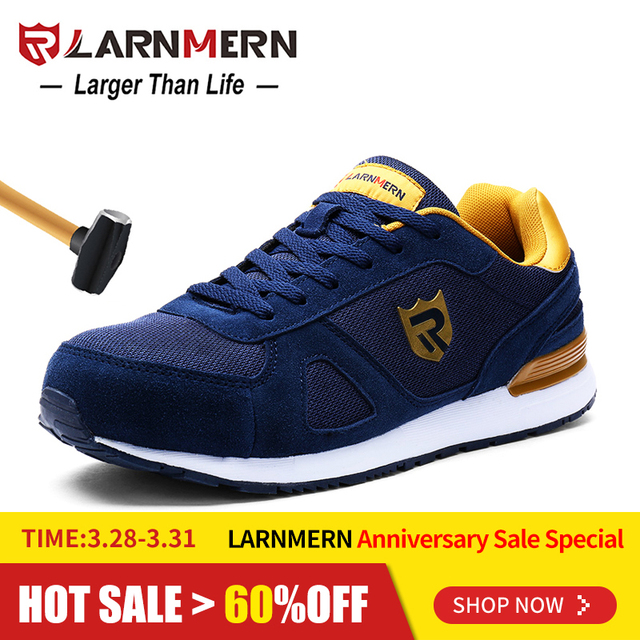 4c4bf9102571 US $38.44 49% OFF|LARNMERN Mens Steel Toe Work Safety Shoes For Men  Lightweight Breathable Anti smashing Non slip Reflective Protective Shoes  -in Work ...