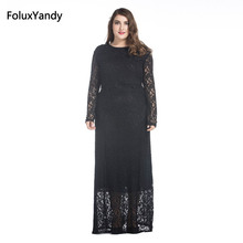 Hollow Out Lace Long Dress 2017 New Style Slim Fit and Flare Long Sleeve Dress Plus Size 3 4 5 6 7 XL Vestidos CMC68
