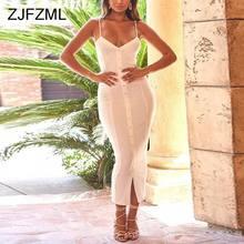 ZJFZML Spaghetti Strap Sexy Bodycon Dress Women Backless Sleeveless Long Maxi Summer V Neck Button Front Split Beach