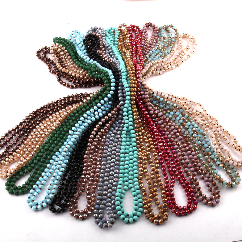 Kostenloser Versand Mode Bohemian Tribal Schmuck 6mm Kristall Lange verknotet Glas Kristall Halskette