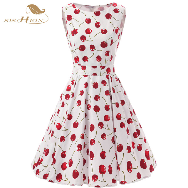 8e432e20d4a4d SISHION 50s 60s Retro Vintage Dress Plus Size Swing Rockabilly Casual  Cherry Pattern Floral Print Women Summer Dress VD0136