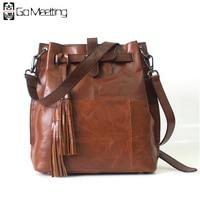 Go Meetting Genuine Leather Women S Shoulder Bags Cow Leather Women Crossbody Messenger Bag Fashion Vintage