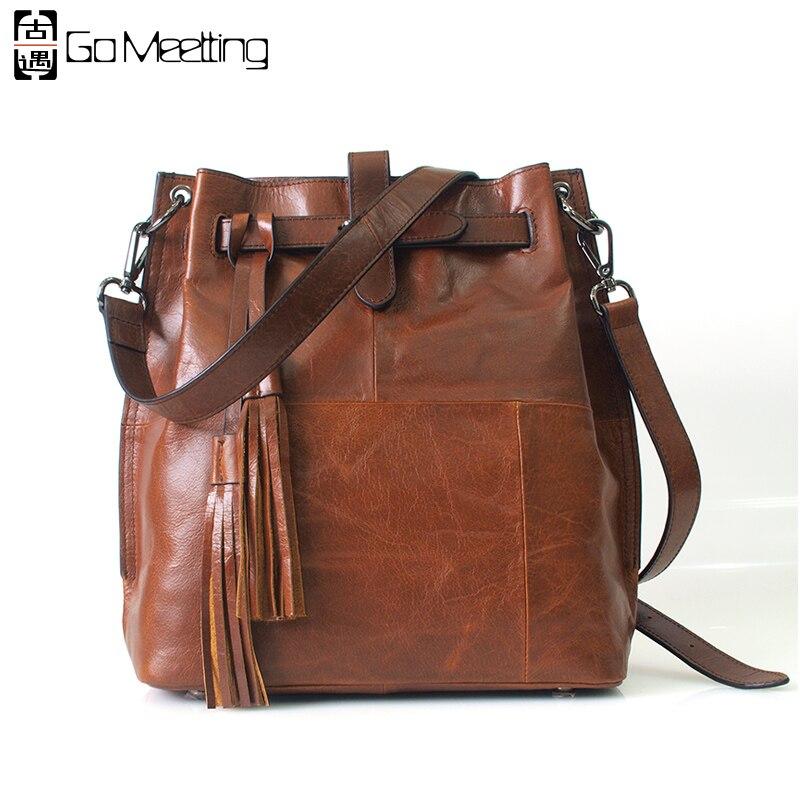 Go Meetting Genuine Leather Women Shoulder Bags Cow Leather Women Crossbody Messenger Bag Fashion Vintage Bucket Bag WD43 женские часы go girl only go 694925