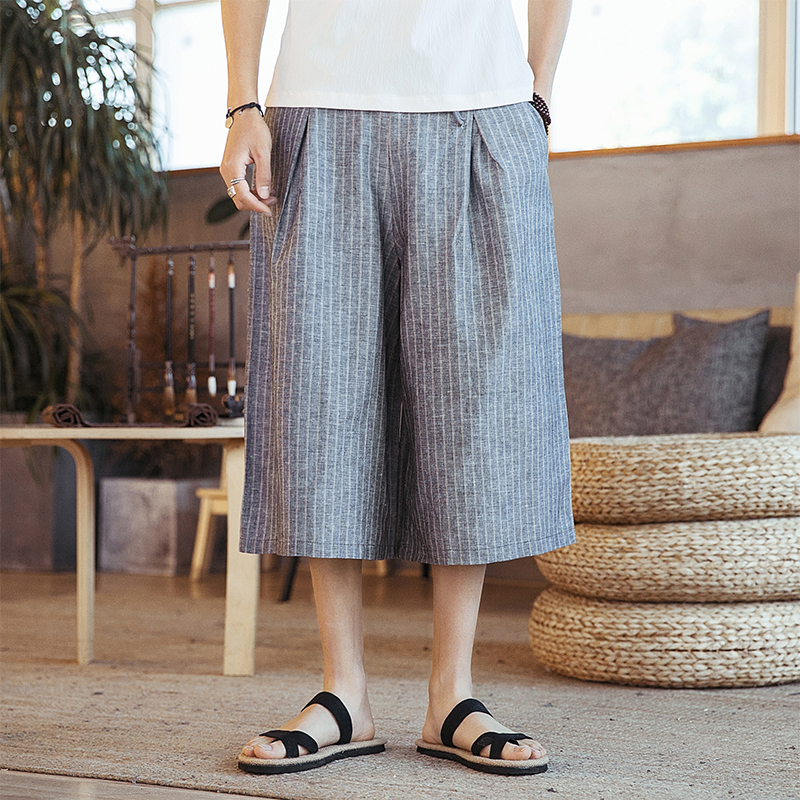 Male Skirt Harem Trousers Streetwear Travel Wide Leg Pant Men Cotton Linen Casual Loose Stripe Pant
