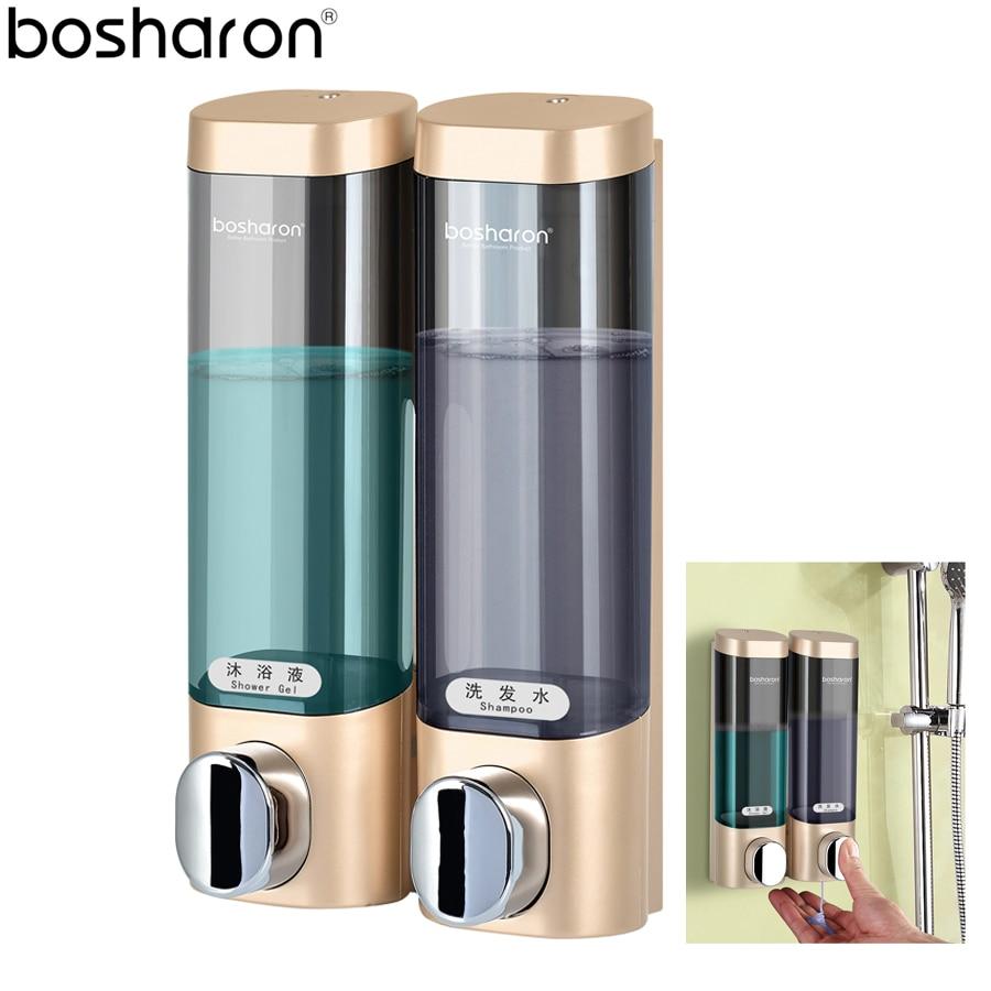 Soap Dispenser Wall Mount Double Pump 300ml Plastic Kitchen Bathroom Accessories Liquid Soap Bottle Detergent Shampoo Dispensers