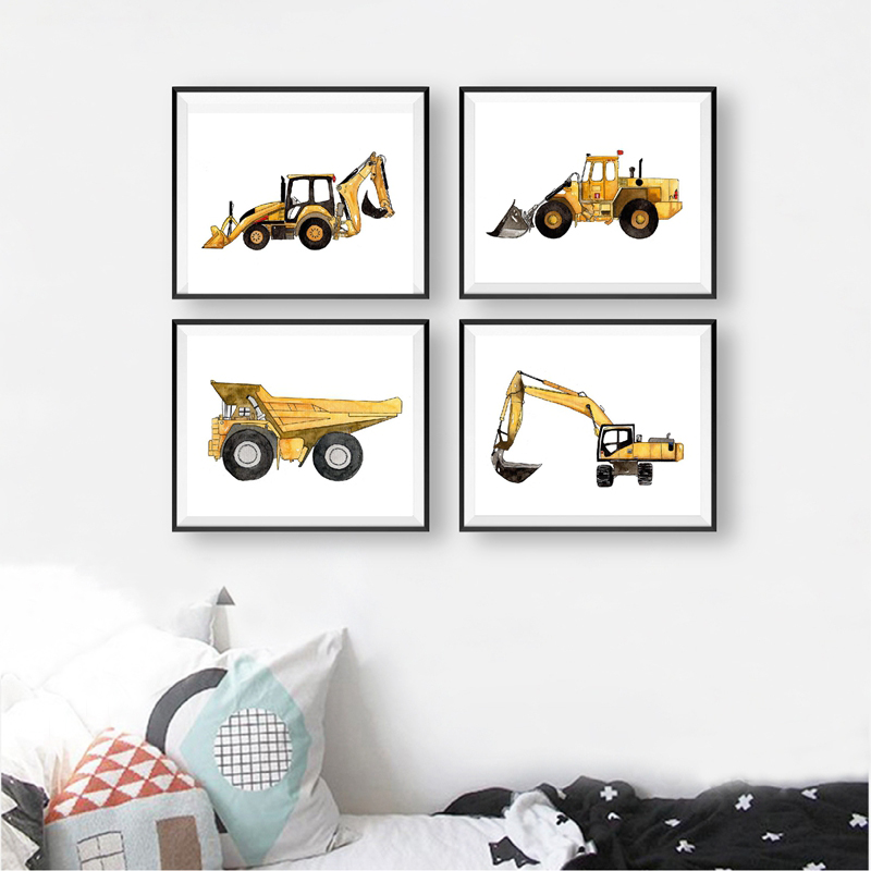 Construction Vehicle Watercolor Boys Wall Art Canvas Painting Pictures Dump Truck Excavator Posters And Prints Kids Room Decor