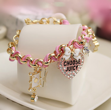 Big Brand Trendy Sweety Heart Poker Charm Bracelets for Women Jewelry Gifts Braid Leather Gold Metal Chain