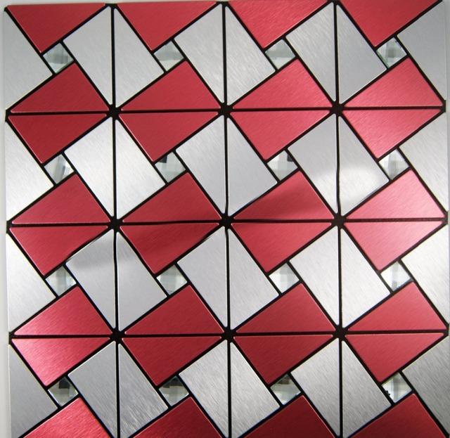 Beautiufl Red Backsplash Tile 11sheets Lot Silver Mirror Wall