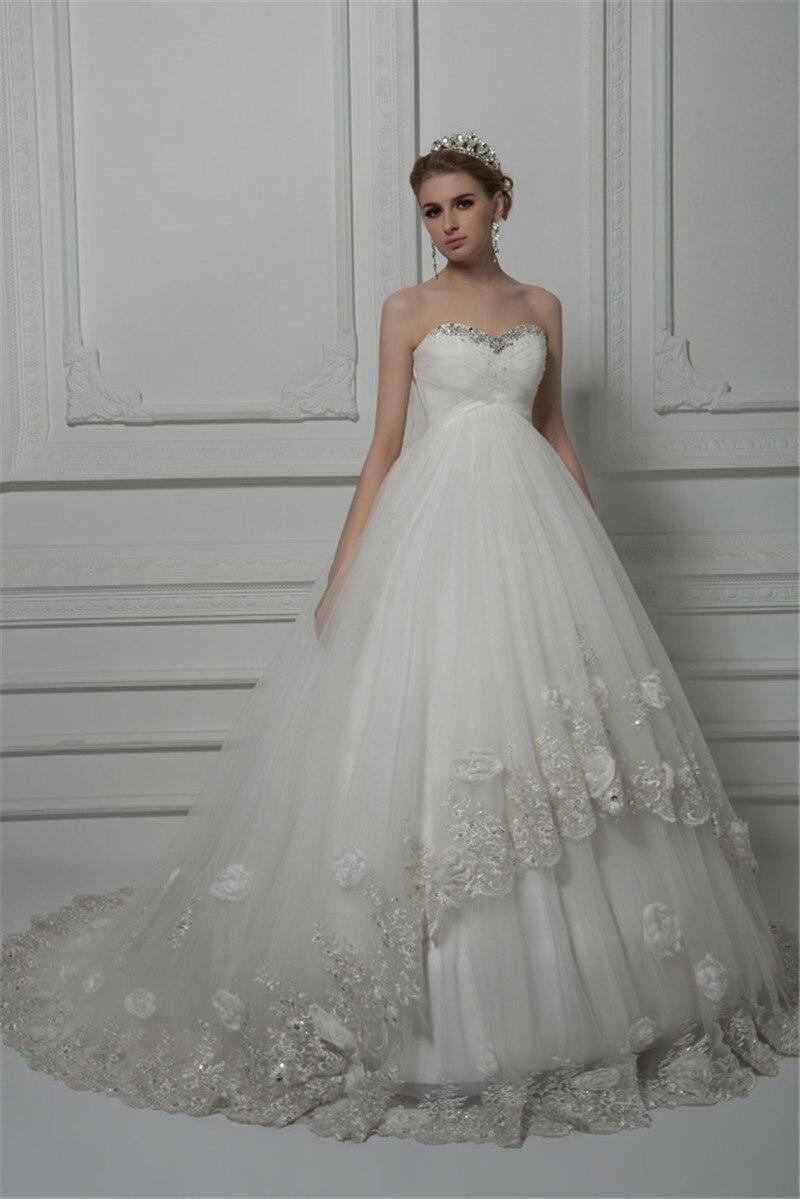 2018 Vestido de Noiva Princesa Luxo Wedding Dress Bride Dresses Bead ...