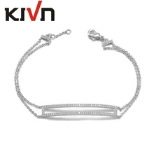 KIVN Fashion Jewelry Open Rectangle Bar CZ Cubic Zirconia Link Bracelets for Women Girls Mothers Day Birthday Christmas Gifts