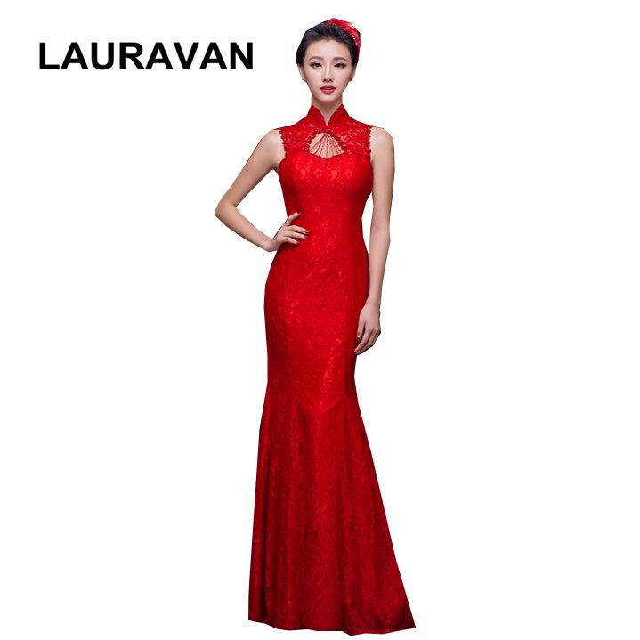 Vintage rouge chinois adulte princesse col haut femmes robe de demoiselle d'honneur robes de sirène longueur de plancher robes de demoiselles d'honneur en dentelle