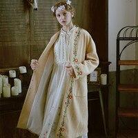 LYNETTE'S CHINOISERIE весна осень женская верблюжья Цветочная вышивка универсальная Свободная Повседневная оверсайз свитер пальто верхняя одежда