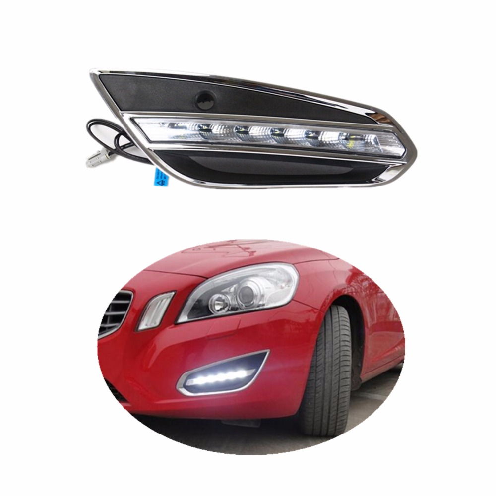 Car styling LED DRL Daytime Running Lights for Volvo S60 2009-2013 Daylight with Fog Lamp cover driving light