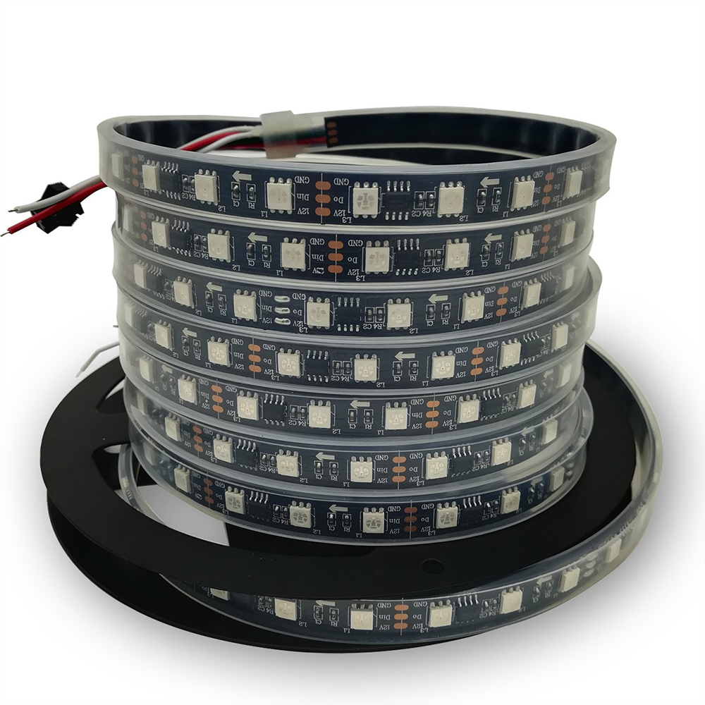 DHL shpping 50M 2811 Pixels Programmeerbare Individuele Adresseerbare LED Strip licht WS2811 5050 RGB 12V Black LED Tape lam - 4