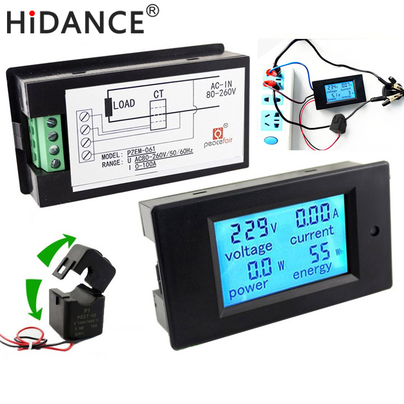 Digital AC Voltage Meters 100A/80~260V Power Energy analog Voltmeter Ammeter watt current Amps Volt meter LCD Panel Monitor hp9800 pc usb port 4500w 85v 110v 220v 265v ac 20a electric power energy monitor tester watt meter analyzer with socket output