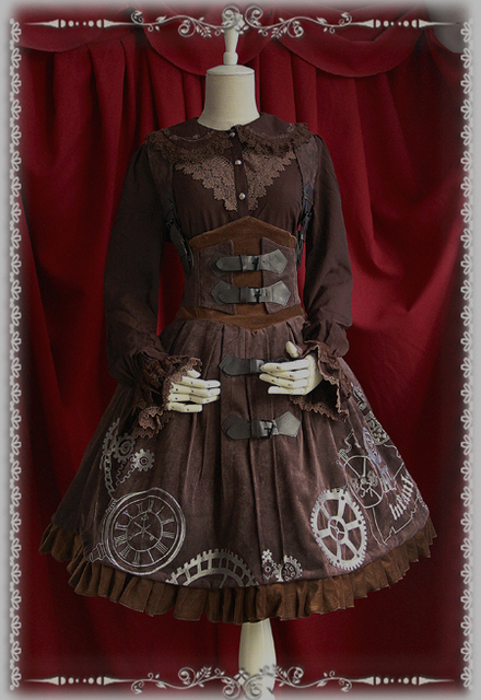 Haute Qualité Style Vintage Steampunk Lolita Robe Brodé BRETELLES Lolita  Cosplay Costumes