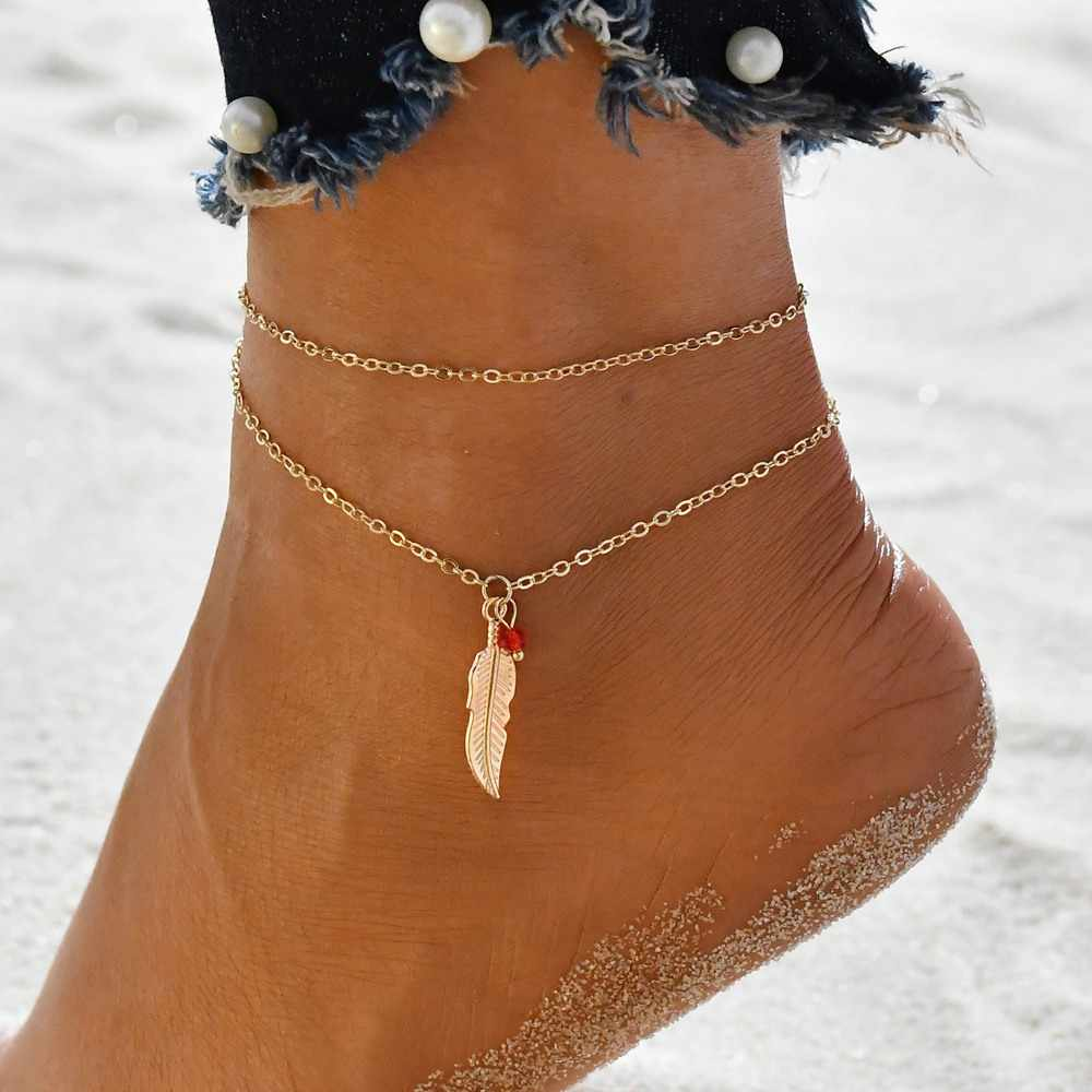 Terreau Kathy  Feather Leave Ankle Female Bracelet Barefoot Sandals Anklets For Women Beach Foot Jewelry Leg Chain Accessories