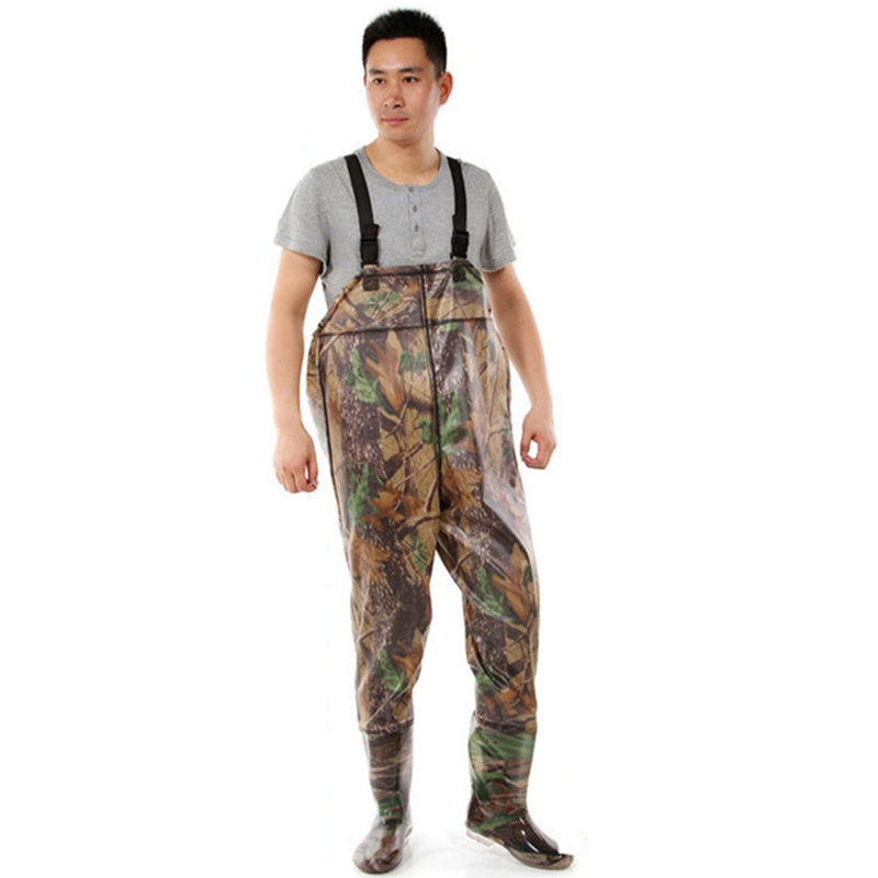 Camouflage One-Piece Fishing Waders 0.7mm PVC Breathable Waterproof Chest Fishing Wader Unisex Dichotomanthes End Fishing Waders high jump camouflage fishing waders 0 7mm pvc breathable waterproof chest fishing wader unisex dichotomanthes end fishing waders