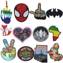 New Devil Horn Rock Music Hand Skeleton Batman Spider Man Patch Rainbow Heart Love Patches for Kids Men Women T-shirt Decoration(China)