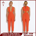 2016 Autumn Sexy Deep V-Neck Jumpsuits Solid Orange White Rompers Hollow out Bodysuits For Women Female Overalls Jumpsuit