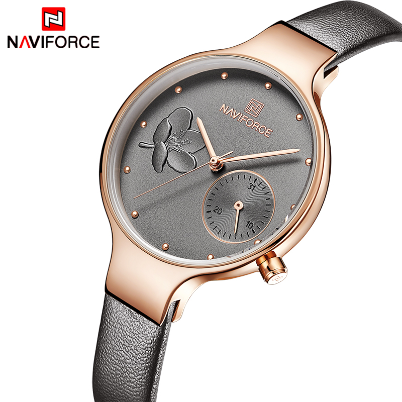 NAVIFORCE Women Watches Top Brand Luxury Fashion Female Quartz Wrist Watch Ladies Leather Waterproof Clock Girl Relogio Feminino