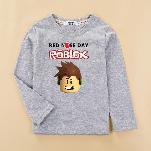 Niños Otoño Invierno ropa de algodón roblox niños camiseta moda nueva manga larga tops niño nueva roblox camiseta impresa camisa