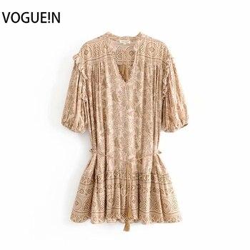 Mini vestido de media manga con escote en V con estampado Floral bohemio Retro de playa para mujer