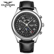 Relojes Hombres Marca de Lujo GUANQIN Reloj Mecánico Automático Impermeable de Cuero Calendario Perpetuo Reloj relogio masculino