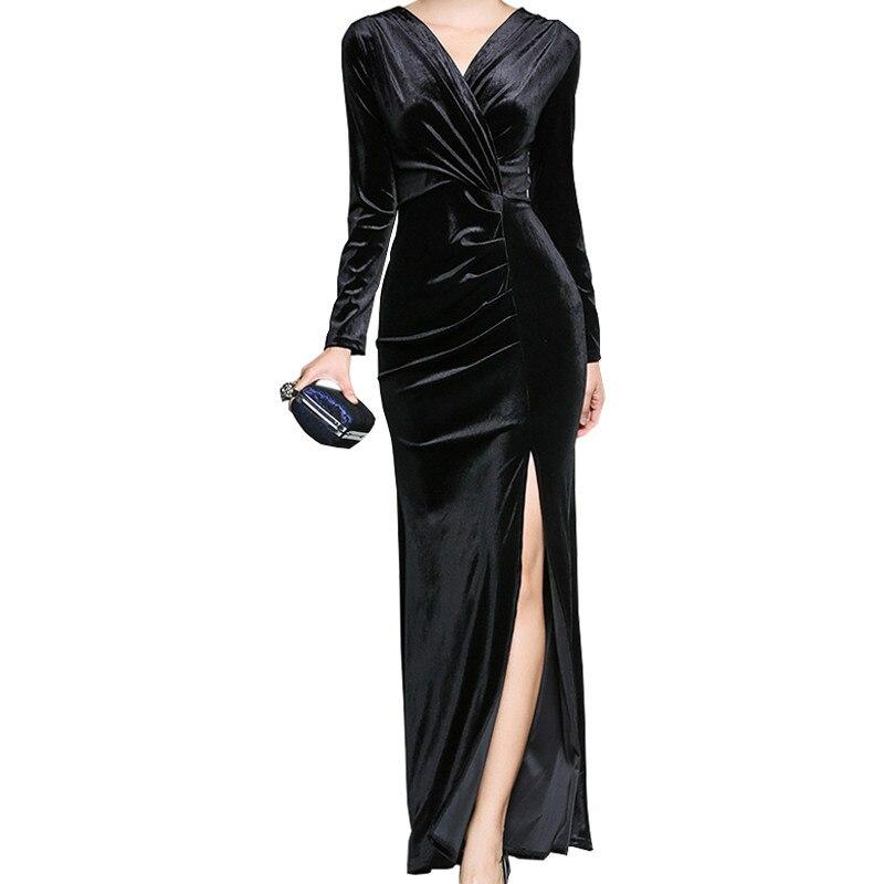 Robe en velours fendu 2018 Sexy col en V velours robes de soirée à manches longues robe en velours noir élégant femmes robes