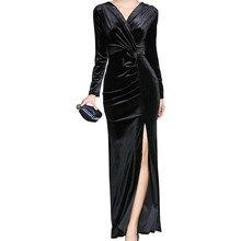 Split Velvet Dress 2018 Sexy V -Neck Velvet Evening Party Dresses Long Sleeve Velvet Dress Black Elegant Women Dresses недорого