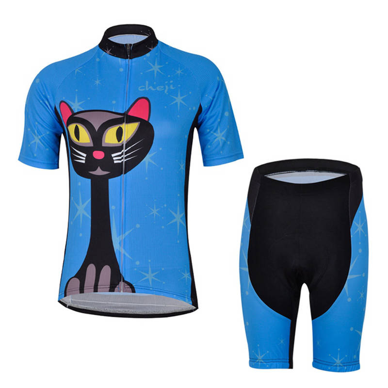 Women Cycling Jerseys set Cat Printed Pro Team Cycling Clothing Short Sleeve Sport Suit Bike Wear Ropa Ciclismo