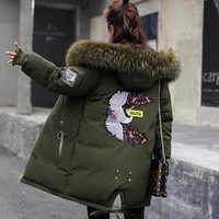 2019 Inverno Giacca di Pelliccia Delle Donne Parka Con Cappuccio Cappotti Lunghi del ricamo di Cotone Imbottito Cappotto di Inverno Delle Donne Caldo Addensare Jaqueta Feminina