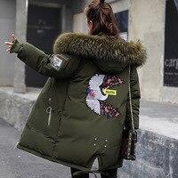 2018 Winter Jacket Women Fur Hooded Parka Long Coats embroidery Cotton Padded Winter Coat Women Warm Thicken Jaqueta Feminina