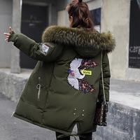 2019 Winter Jacket Women Fur Hooded Parka Long Coats embroidery Cotton Padded Winter Coat Women Warm Thicken Jaqueta Feminina