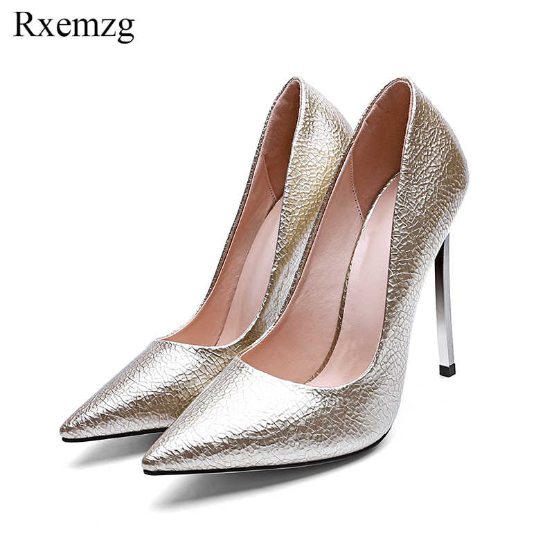 10cbe93d3d0 Rxemzg sexy stilettos pointed toe ladies shoes fancy silver high heels  shiny leather women pumps slip