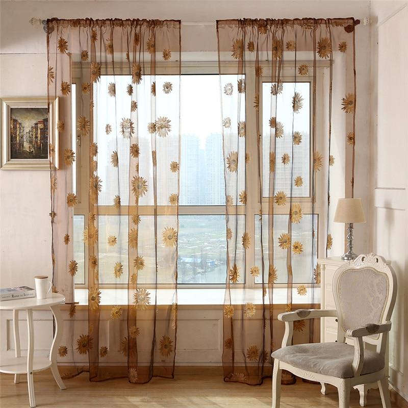 buy 1pcs sunflower voile curtain window. Black Bedroom Furniture Sets. Home Design Ideas