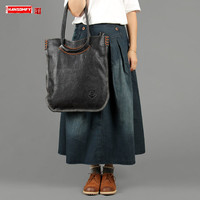 Handmade suede leather women handbag retro genuine leatehr female Large capacity shoulder bag ladies slung portable tote bags