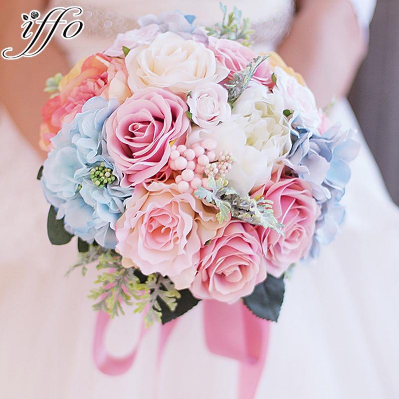 Wedding Flowers Bouquet Prices: Custom Bride Holding Flowers Pink & Blue Bouquet Wedding