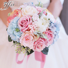 Custom Bride Holding flowers pink & blue bouquet Wedding Bouquet Silk Wedding Bouquet Bridal Artificial Rose Bouquet
