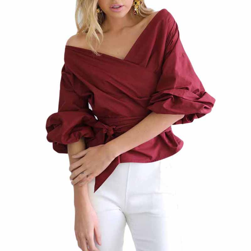 Summer Style Blouse Women Sexy Half Sleeve Off Shoulder Blouse Tops Shirts Fashion ladies Bandage Blusa Tops Sashes Belted YF106
