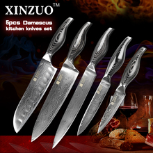 High Quality Kitchen knives set Japanese VG10 Damascus steel kitchen knife set cleaver chef utility wood handle free shipping