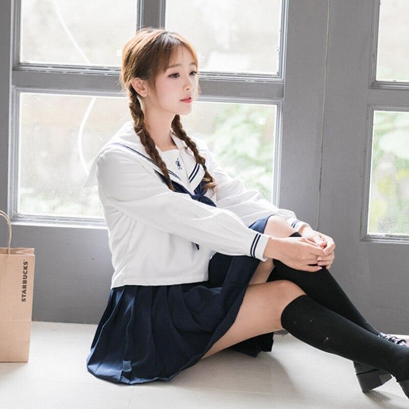 Uniforme scolaire japonais coréen britannique définit le vent à la mode à manches longues des étudiantes exécutant des uniformes