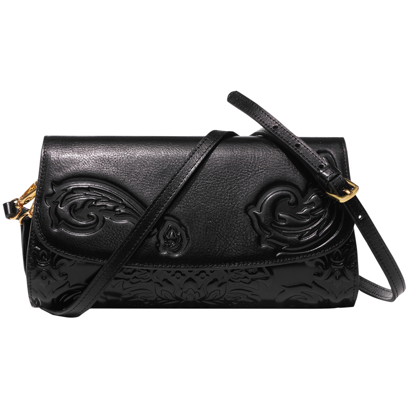 Chinese Vintage Embossing Woman s Genuine Leather Day Clutches Clutch Wallet Handbag Cover Purse Banquet Shoulder