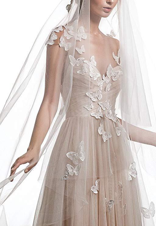 2019 Cap Sleeves Chiffon Wedding Dresses For Women Champagne Open-Back Formal Dress With Train Vestido De Novia