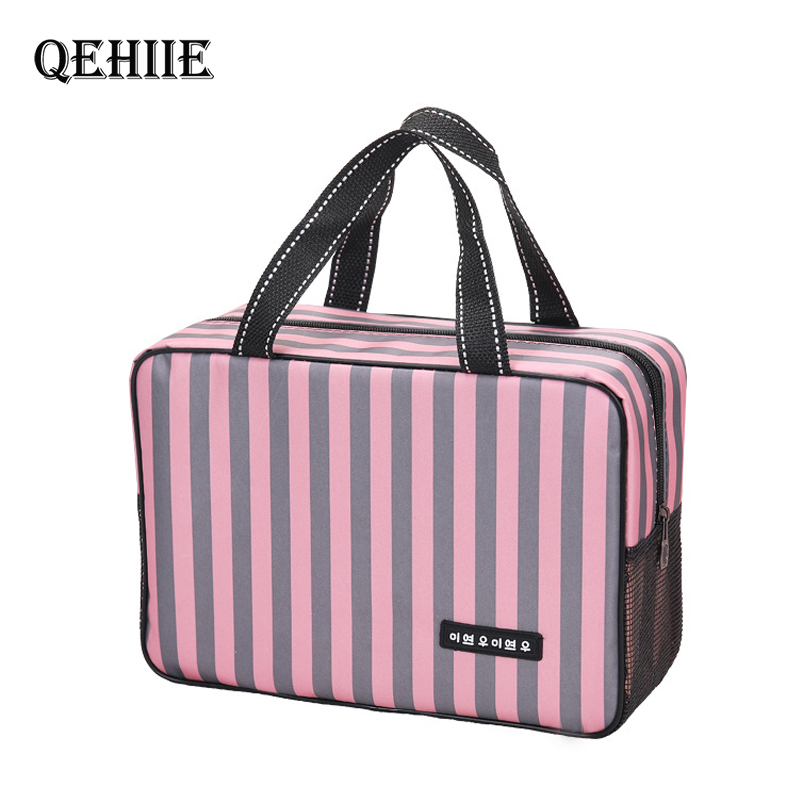 Travel Organizer Cosmetic-Bag Stripe Breathable Waterproof Woman Oxford Fashion Swimming