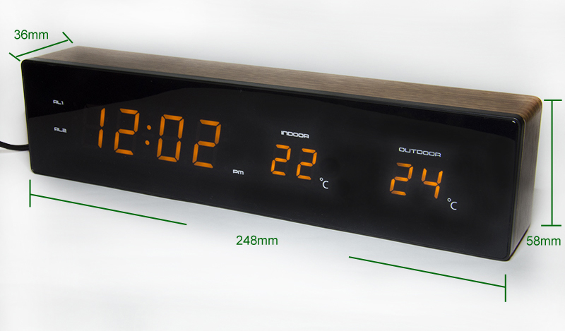Horloge électronique en bois affichage de la température humidité LED réveil USB Charge avec fonction Snooze horloge de Table numérique