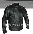 Free shipping  New Cool HOT PU mandarin collar Men's Black Solid Leather Motorcycle Biker Jacket. Sizes S To XXL