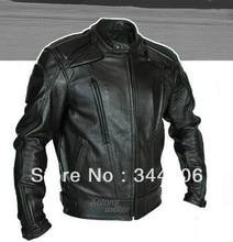 Envío gratis Cool Nuevos CALIENTE PU mandarina cuello hombres Chaqueta de Motociclista de Cuero Negro Sólido. tallas S A La XXL